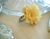 Soft Saffron Yellow Fabric Flower Statement Ring - Adjustable - Several Color Options