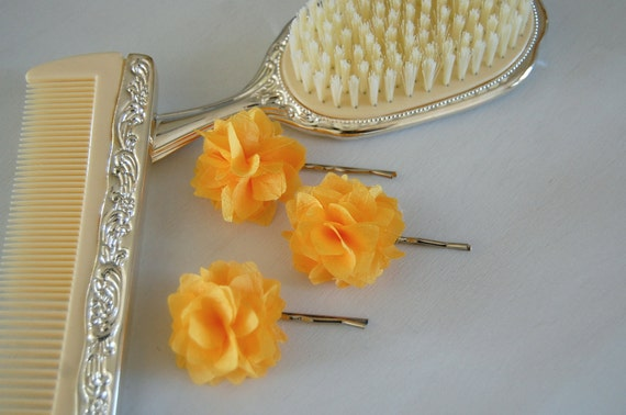 Sunshine Yellow Fabric Flower Bobby Pins or Hair Clips - Set of 2 - for Bridal, Weddings, or Everyday Wear