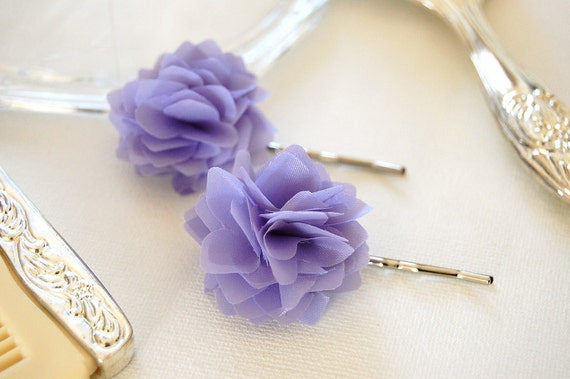 Lavender Dreams Fabric Flower Bobby Pins or Hair Clips - Set of 2 for Bridal, Weddings, or Everyday Wear