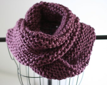 Purple Hand Knit Chunky Infinity Scarf