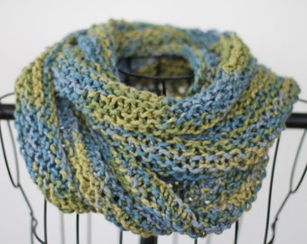 Organic Cotton Hand Knit Infinity Scarf in Greens and Blues