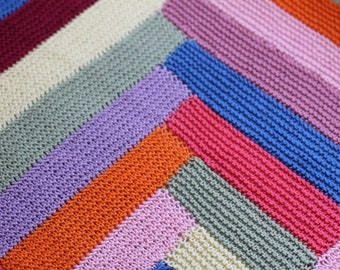 Colorful Hand Knit Cotton Baby Blanket