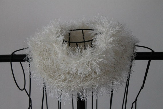 White Furry Hand Knit Cowl Scarf