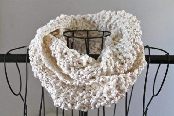 Organic Cotton Hand Knit Skinny Infinity Scarf