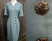 ON SALE Vintage Creme De Menthe Scalloped Dress M/L