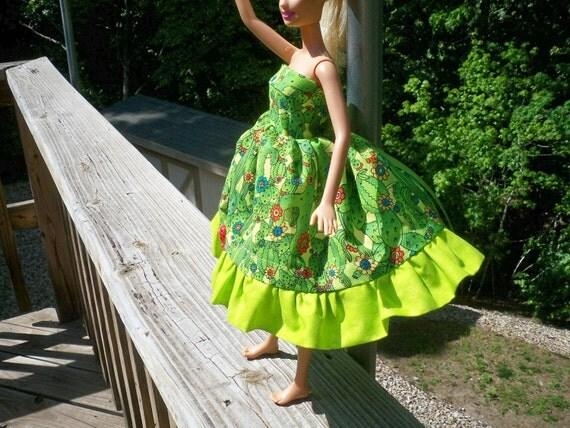 barbie doll dress whimsical ladybug cactus patch