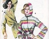 Wrap Around Cardigan Sewing Pattern FF ALL SIZES Original Vintage Shawl Collar Hood