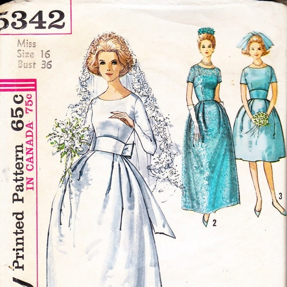 Vintage 1963 Wedding Dress Fitted Midriff with BOW and Lace Overlay Sewing Pattern Bust 36 Simplicity 5342