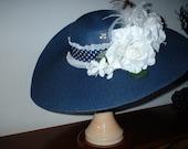The Floppy Navy White Rose Hat
