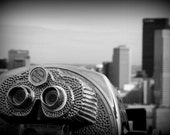 Silver vintage Binoculars and skyscrapers in black and white - 8x10  - Pittsburgh cityscape