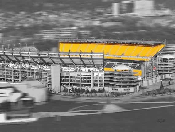 Pittsburgh heinz field art photo selective color - Heinz Field football stadium - Home of the Pittsburgh Steelers - 8x10