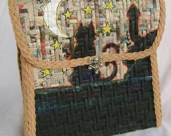 Vintage Cat Halloween Weave Bag Back pack NOS handmade