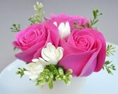Handmade Clay Magenta Roses and Ivory Tuberoses Floral Arrangement