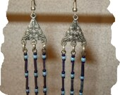 NEW Blue Porcupine Quill and Glass Bead Earrings
