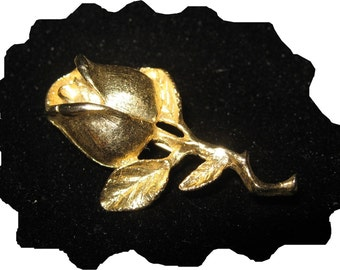 Vintage, But New, DFA Gold Rose Pin, Brooch