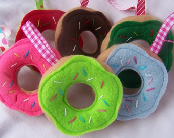 Sweet Stack, Set of 6 FELT Doughnut Christmas Tree Ornaments or Present Topper