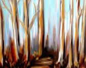 Autumn Road and original oil painting by Alexi Blackwell of fall leaves bare trees on an abandoned road in brown powder blue lilac tones