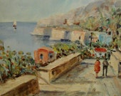 Pastel Harbor an original vintage oil painting signed by the artist Lina in soft blue beige aqua and coral tones