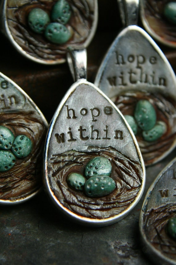 hope within - egg - nest - simple truths pendant - MADE TO ORDER