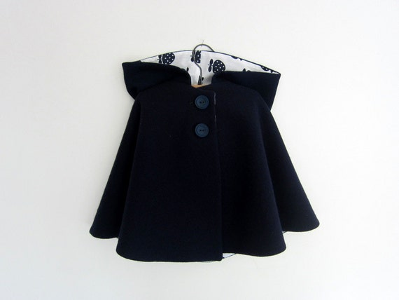 Navy Blue Childs Wool Cape - vintage style