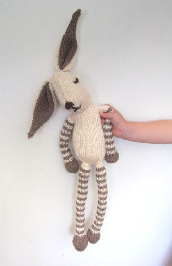 Childs stuffed Rabbit Bunny knitted soft toy