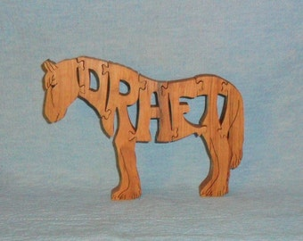 Draft Horse Breed Scroll Saw Wooden Puzzle