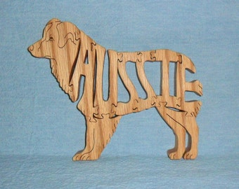 Aussie Dog Breed Scroll Saw Wooden Puzzle