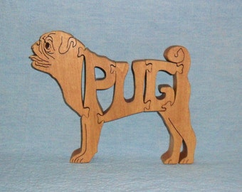 Pug Dog Wooden Scroll Saw Puzzle