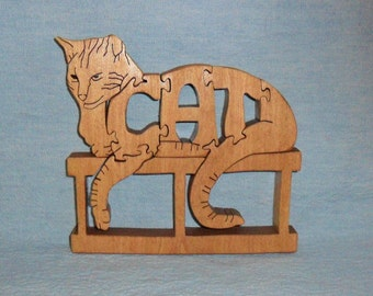 Cat Wooden Puzzle (Lounging On Brick)