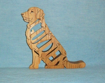 Golden Retriever (Sitting) Dog Breed Handmade Scroll Saw Wooden Puzzle