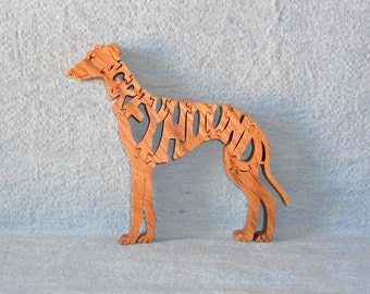 Greyhound Dog Breed Scroll Saw Wooden Puzzle