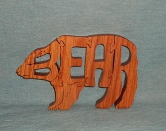 Bear Handmade Scroll Saw Wooden Puzzle
