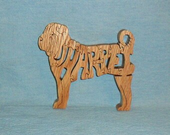Shar Pei Dog Breed Handmade Scroll Saw Wooden Puzzle
