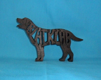 Black Lab Dog Handmade Scroll Saw Wooden Puzzle