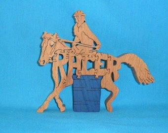 Barrel Racer Handmade Scroll Saw Wooden Puzzle