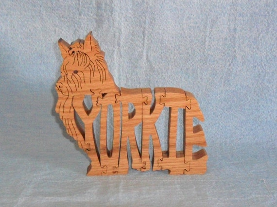 Yorkie Dog Breed Scroll Saw Wooden Puzzle