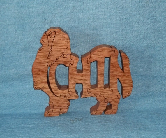 Japenese Chin Dog Breed Scroll Saw Wooden Puzzle