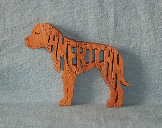 American Bulldog Scroll Saw Wooden Dog Breed Puzzle