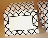Print At Home - Escort / Place Cards - Black & White Pattern 1