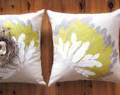 Feather Cushion Cover hand screen printed on Eco Friendly Linen - taupe, mustard, white print