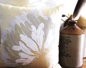 Feather Throw Cushion hand screen printed on Eco Friendly Yellow Linen - washed grey, mottled yellow and white print