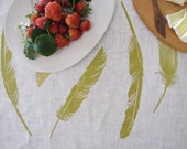 Floaty Feather Tea Towel Citron - hand screen printed on Eco friendly Linen