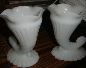 Vintage White Milk Glass Vases    EPSteam