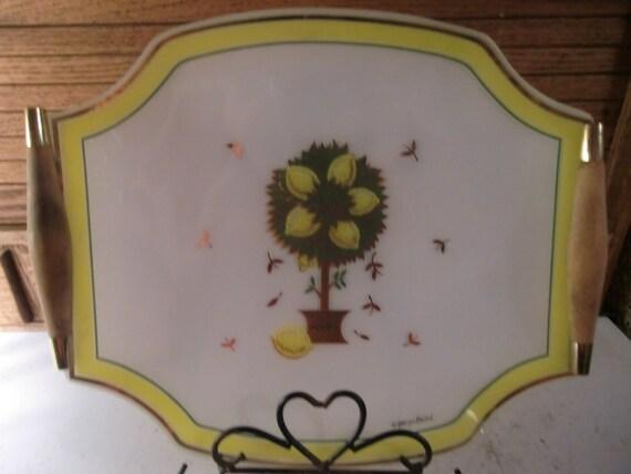 Georges Briard Glass Lemon Tree Platter