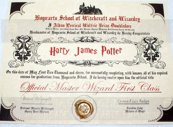 Items similar to hogwarts diploma perfect for any witch wizard or harry potter fan on etsy for Hogwarts diploma template