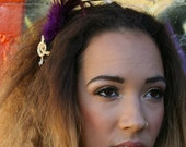 Purple Feather Headband With Gold And Pearl