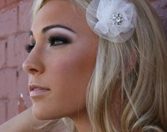 Bridal Barrette Rhinestone French Veil