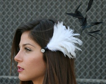 White Wedding Hair Accessory Oversized with Feathers and Swarovski Crystals