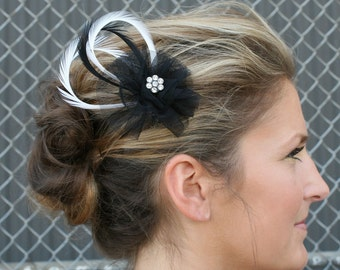 Netting Feather Hair Clip with Crystal, Black Netting, and Goose Biot Feathers