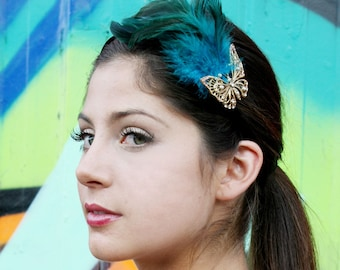 Green Feather Headband Butterfly With Swarovski Crystals Turquoise Blue Green